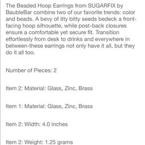 BaubleBar Jewelry - BaubleBar Acrylic Stone Beaded Hoop Drop Earrings